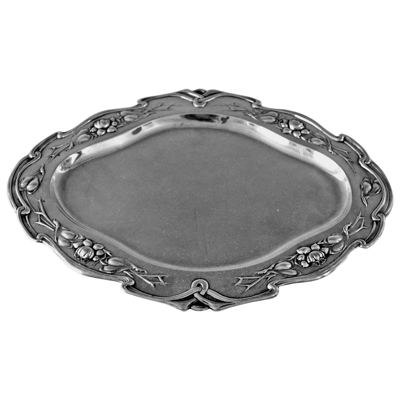 Silver Austrian Excellent Serving Platter, circa 1905 For Sale