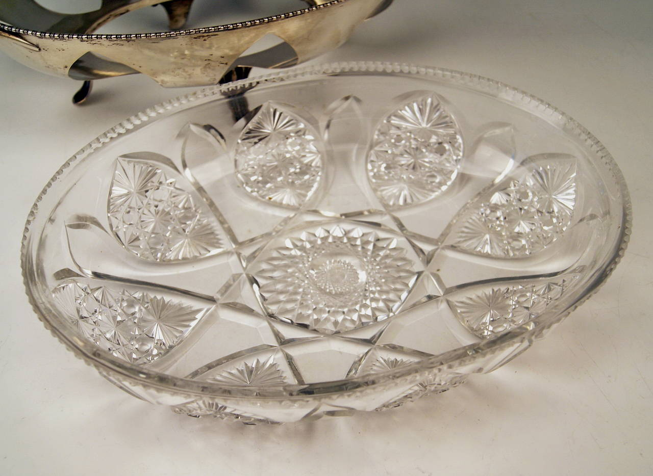 Silver Austrian Huge Bowl Glass Liner, circa 1900-1910 For Sale 1