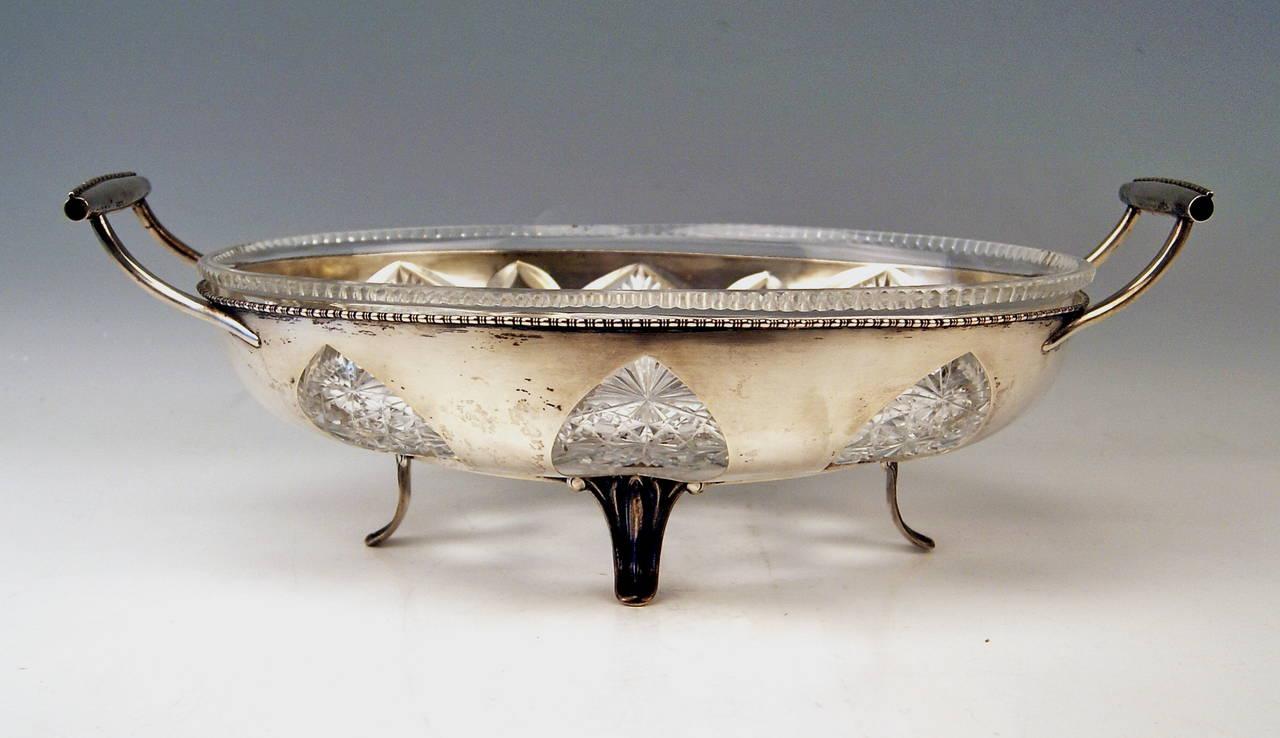 Silver Austrian Huge Bowl Glass Liner, circa 1900-1910 For Sale 2