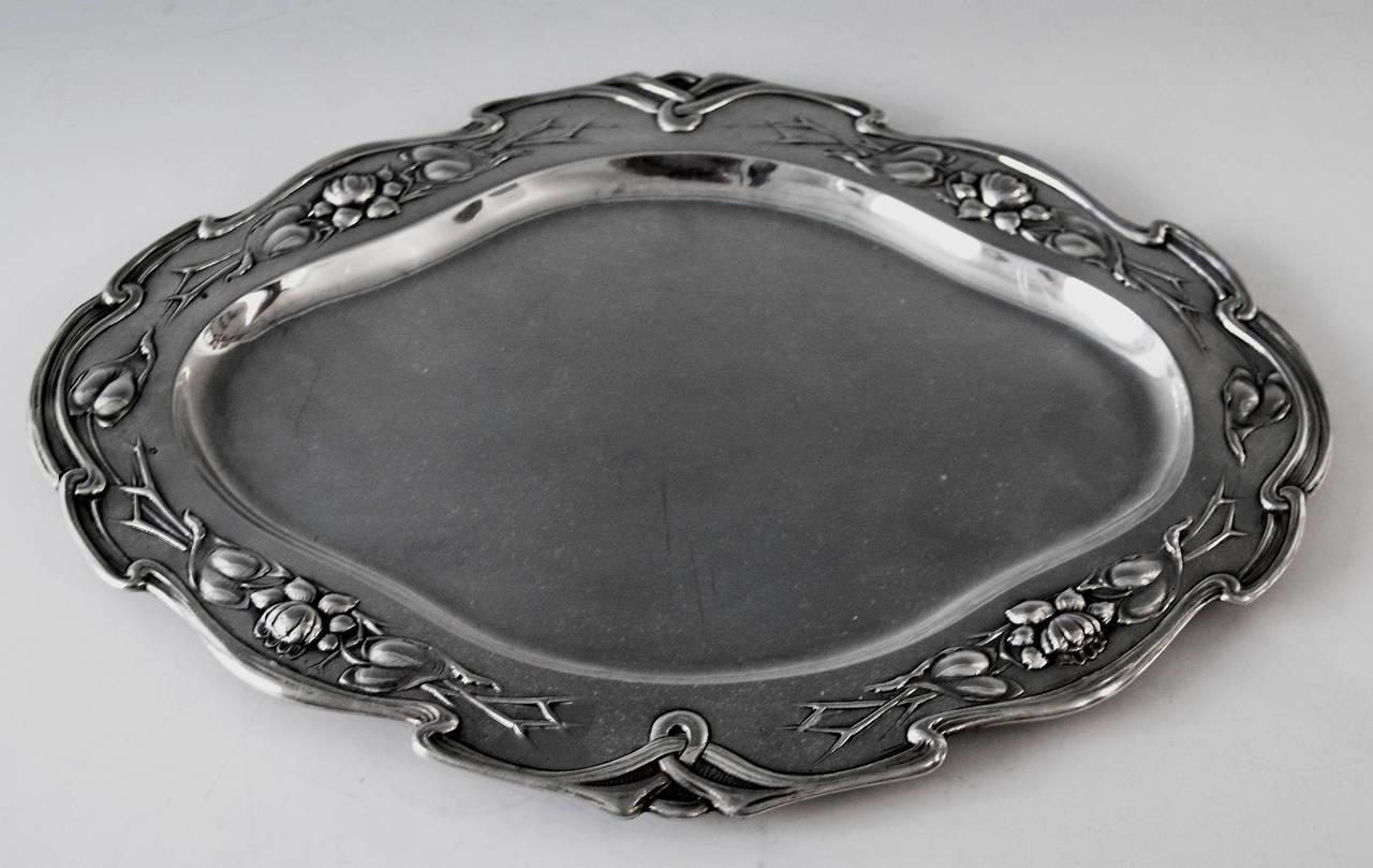 Silver Austrian Excellent Serving Platter, circa 1905 2