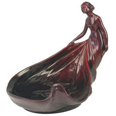 Zsolnay Vintage Nicest Art Nouveau Eosin Bowl with Lady Figurine made 1900-1902