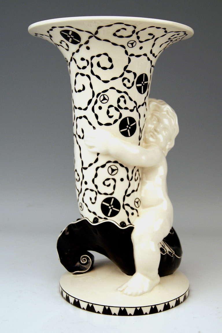 Austrian Michael Powolny Art Nouveau Cherub Clasping Tall Vase Model 319 Made circa 1913 For Sale