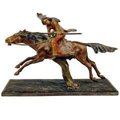 Vienna Bronze Carl Kauba Style Native American Riding Red Indian Bow Arrow 1910