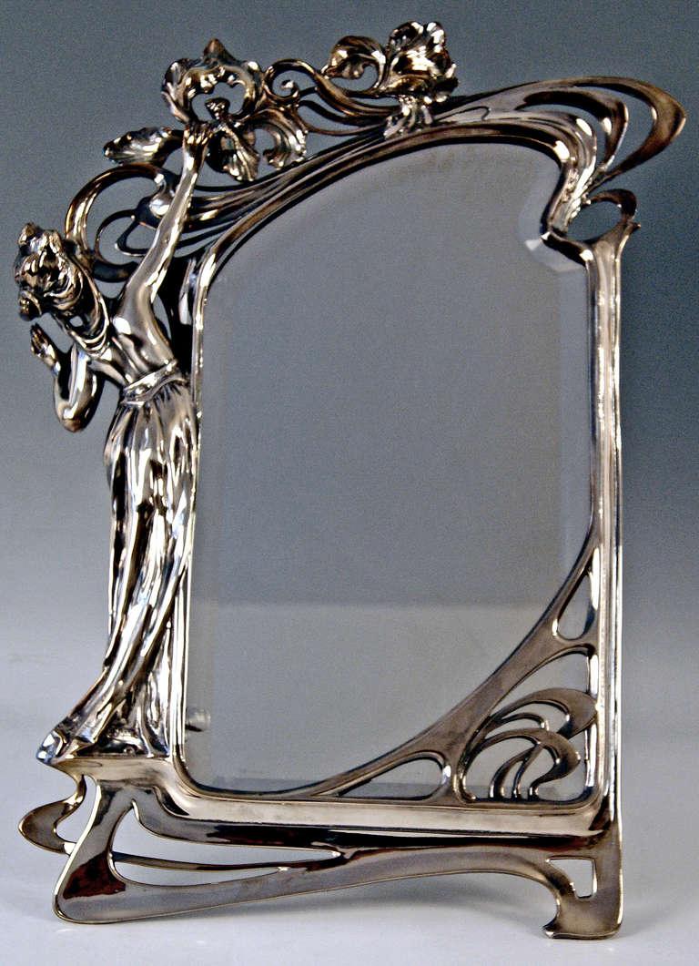 Wmf german silver plated art nouveau tall mirror at 1stdibs for Miroir art nouveau