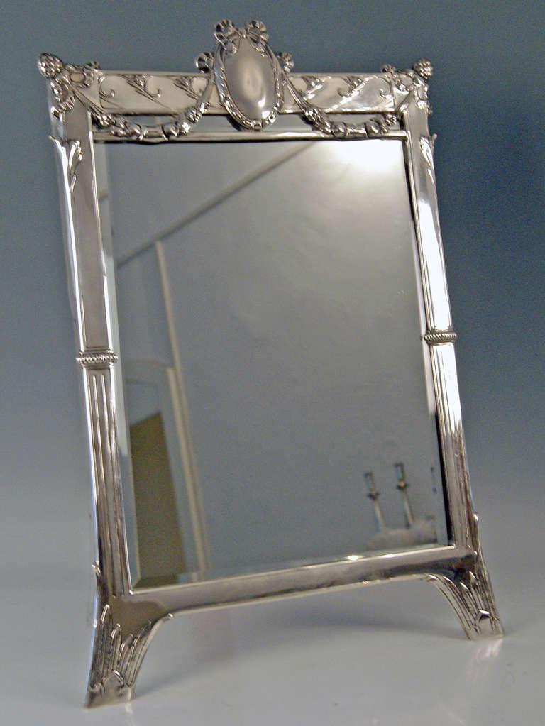 20th Century Silver Austrian Art Nouveau Tall Mirror By E. Friedmann, circa 1905 For Sale