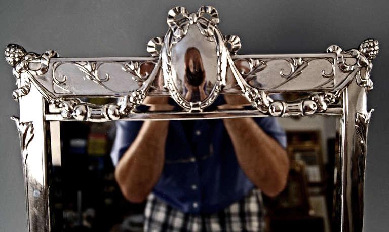 Glass Silver Austrian Art Nouveau Tall Mirror By E. Friedmann, circa 1905 For Sale
