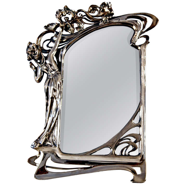 Wmf german silver plated original art nouveau tall mirror for Miroir art nouveau