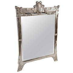 Silver Austrian Art Nouveau Tall Mirror By E. Friedmann, circa 1905
