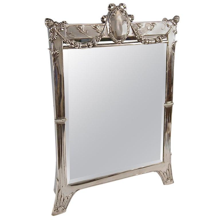 Silver Austrian Art Nouveau Tall Mirror By E. Friedmann, circa 1905 For Sale