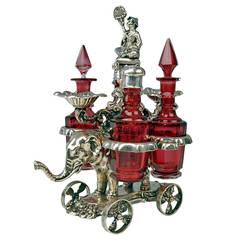 Vintage Vienna Silver Glass Condiment Oil Vinegar Set on an Elephant, circa 1854