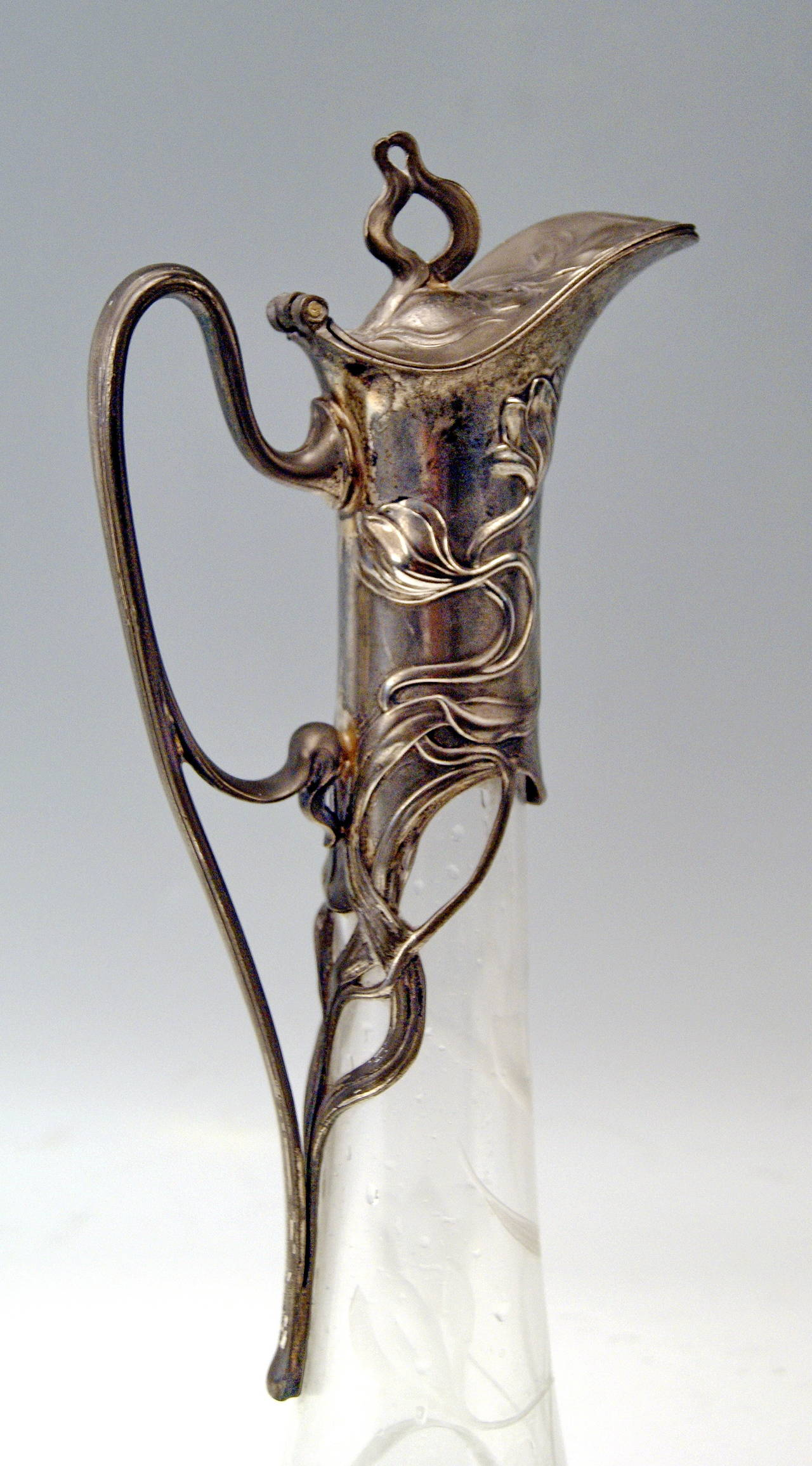 Early 20th Century WMF Art Nouveau Excellent Silver Plated Jug in Green and White Glass, circa 1905 For Sale