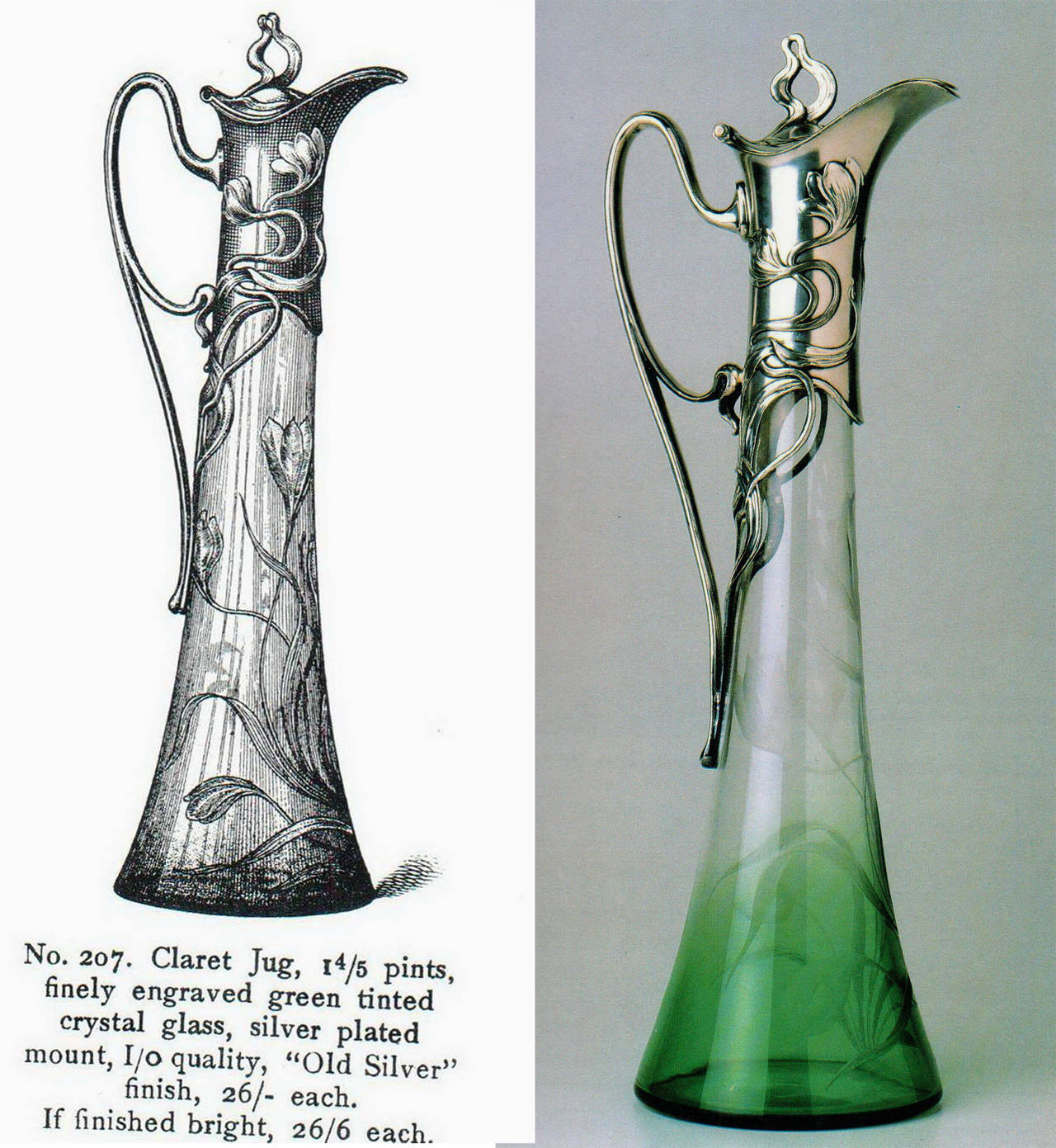WMF ART NOUVEAU STUNNING CLARET JUG    MADE CIRCA 1900 / 05