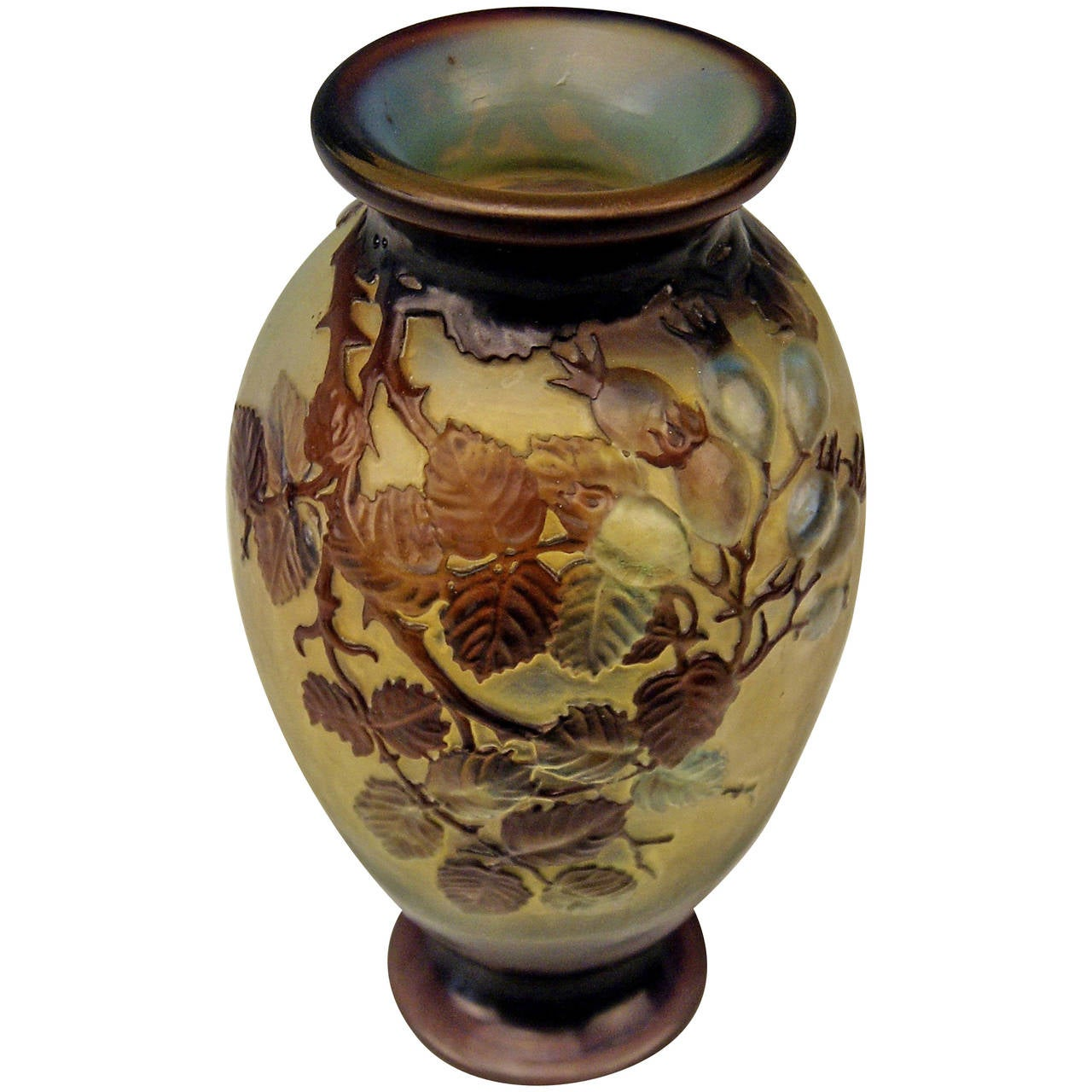 Emile Galle Soufflé Vase Gallé Nancy Art Nouveau Wild Rose France c.1925 For Sale