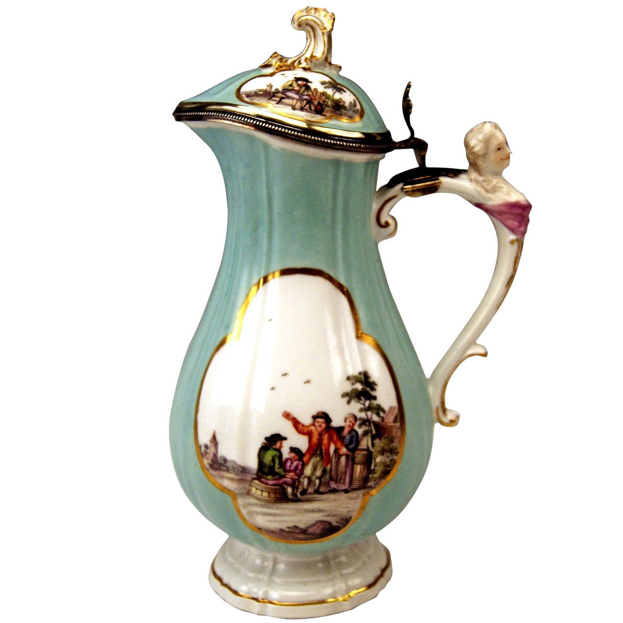 Meissen Lidded Coffee Pot Rococo Period, Made circa 1750 For Sale