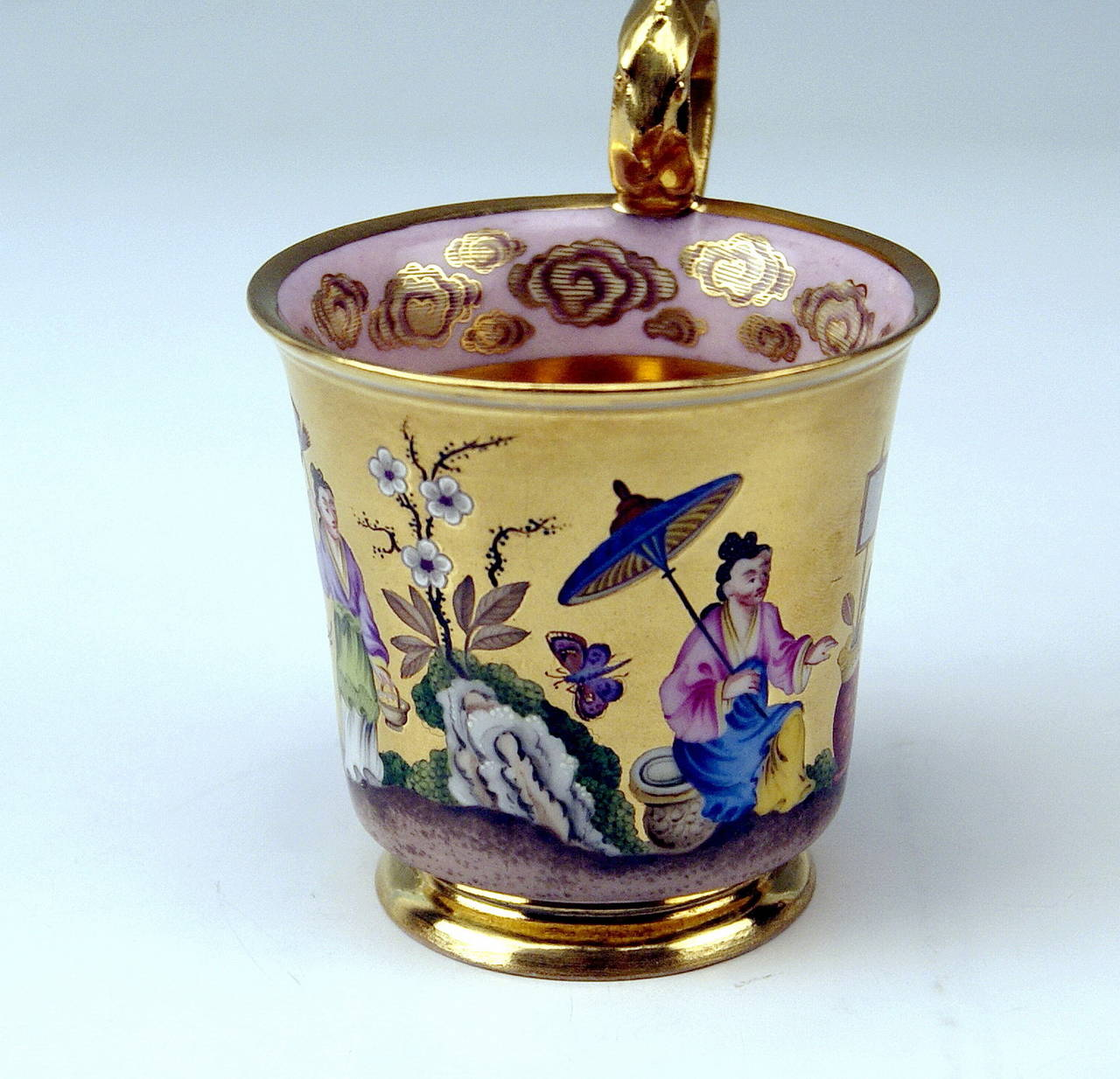 Austrian Vienna Imperial Porcelain Cup Saucer Chinese Style Paintings Dated 1817 Austria For Sale