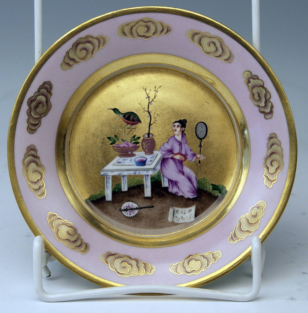 Vienna Imperial Porcelain Cup Saucer Chinese Style Paintings Dated 1817 Austria For Sale 1