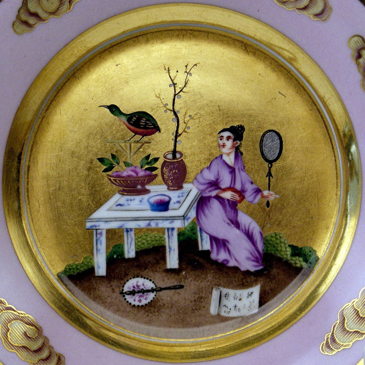 Vienna Imperial Porcelain Cup Saucer Chinese Style Paintings Dated 1817 Austria For Sale 2