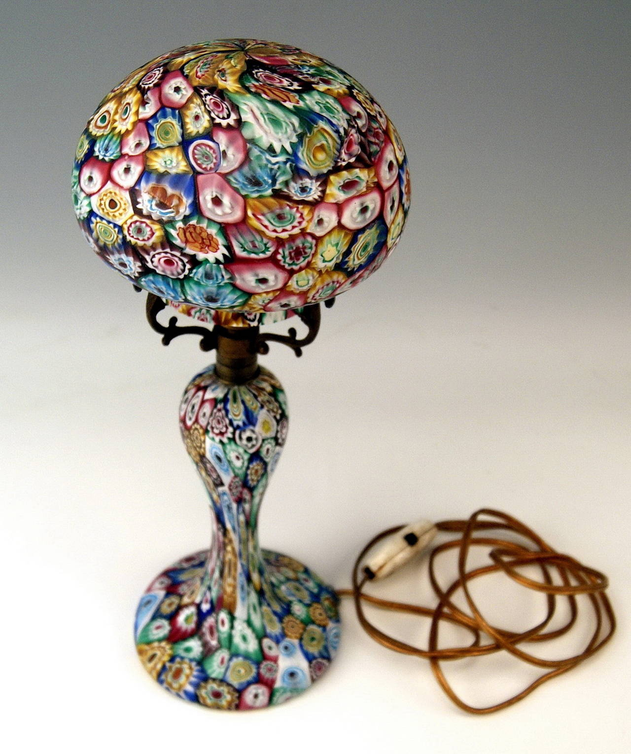 Murano Vintage Glass Lamp Millefiori Fratelli Toso Circa 1920 1925 At 1stdibs