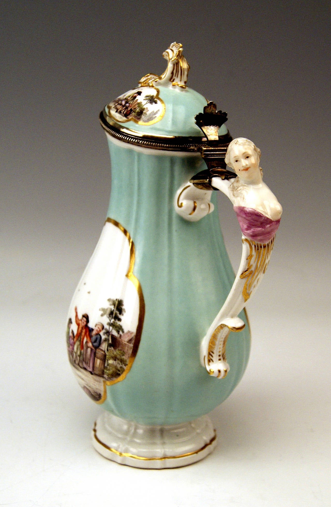 Meissen gorgeous as well as rare LIDDED COFFEE POT.    DATING:      ROCOCO PERIOD    MADE FIRST HALF OF 18th CENTURY   (before 1750-56) MATERIAL:  white porcelain, glossy finish, finest multicolored painting (figural type) TECHNIQUE: