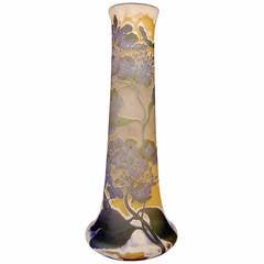 Gallé Nancy Tall Vase Hydrangea Flowers Art Nouveau height 17.91 inches, c.1910