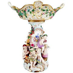 Meissen Tall Centrepiece  Fruit Bowl Figurines of the Four Seasons made c.1870