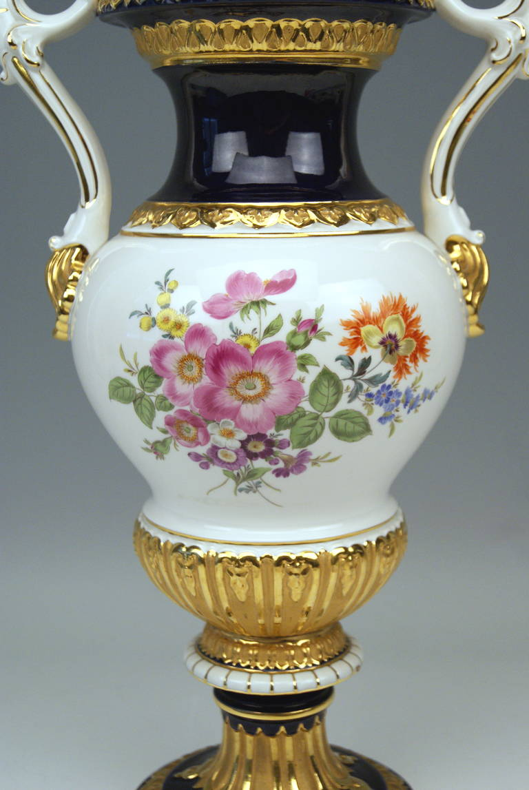 Meissen Tall Amphora Multicolored Vase With Two Handles Made C 1950 At 1stdibs