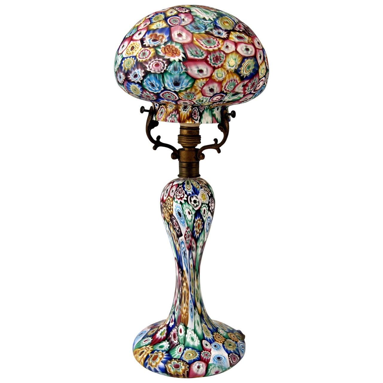 murano vintage glass lamp millefiori fratelli toso circa. Black Bedroom Furniture Sets. Home Design Ideas