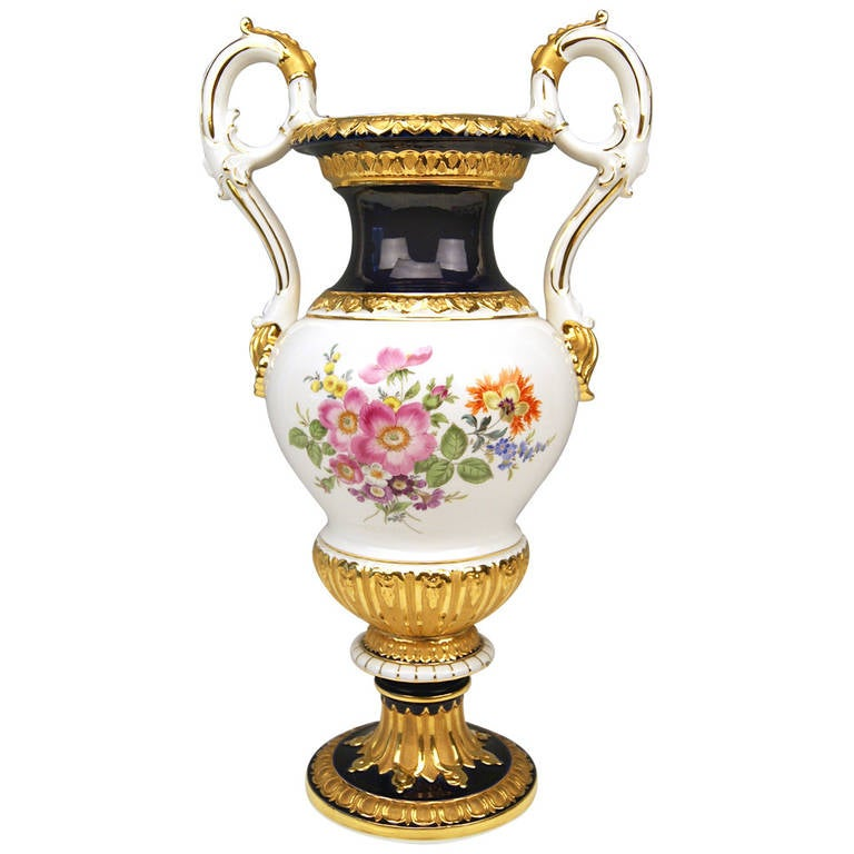 Meissen Tall Amphora Multicolored Vase With Two Handles Made C