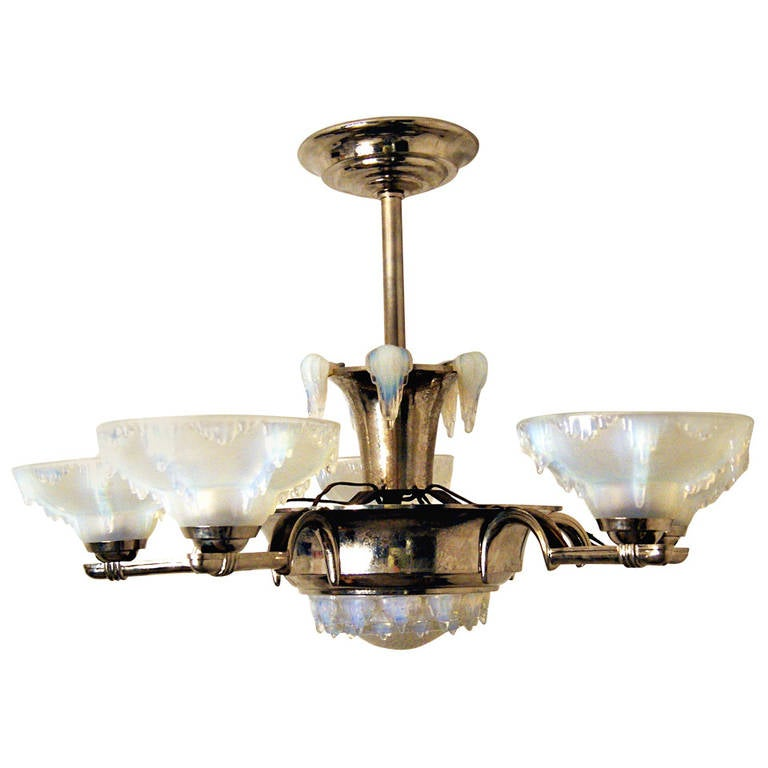 Elegant Art Deco French Chandelier White Frosted Glass France made c. 1930