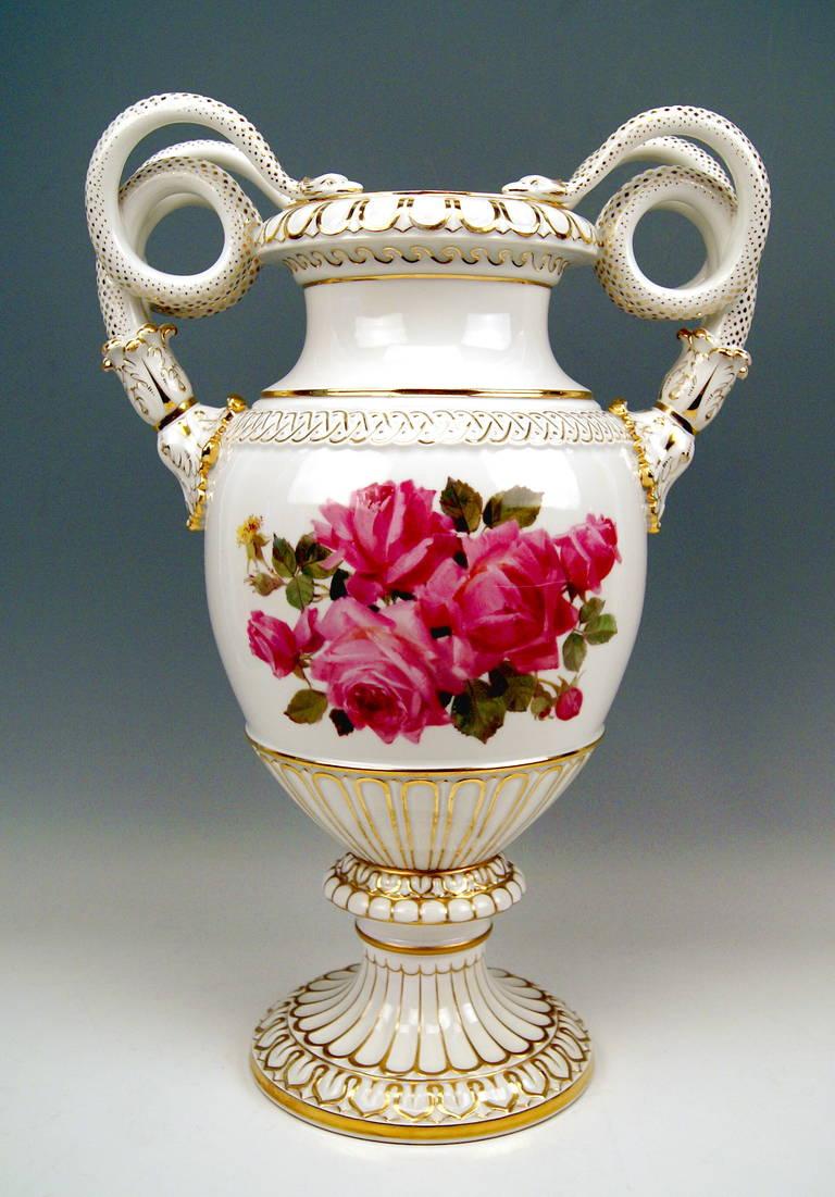 meissen tall snake handles vase with finest flower painting at 1stdibs. Black Bedroom Furniture Sets. Home Design Ideas
