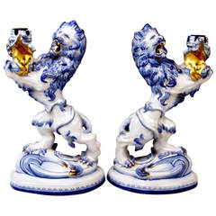 Pair of Galle Nancy St. Clement Faience Candleholders, circa 1892