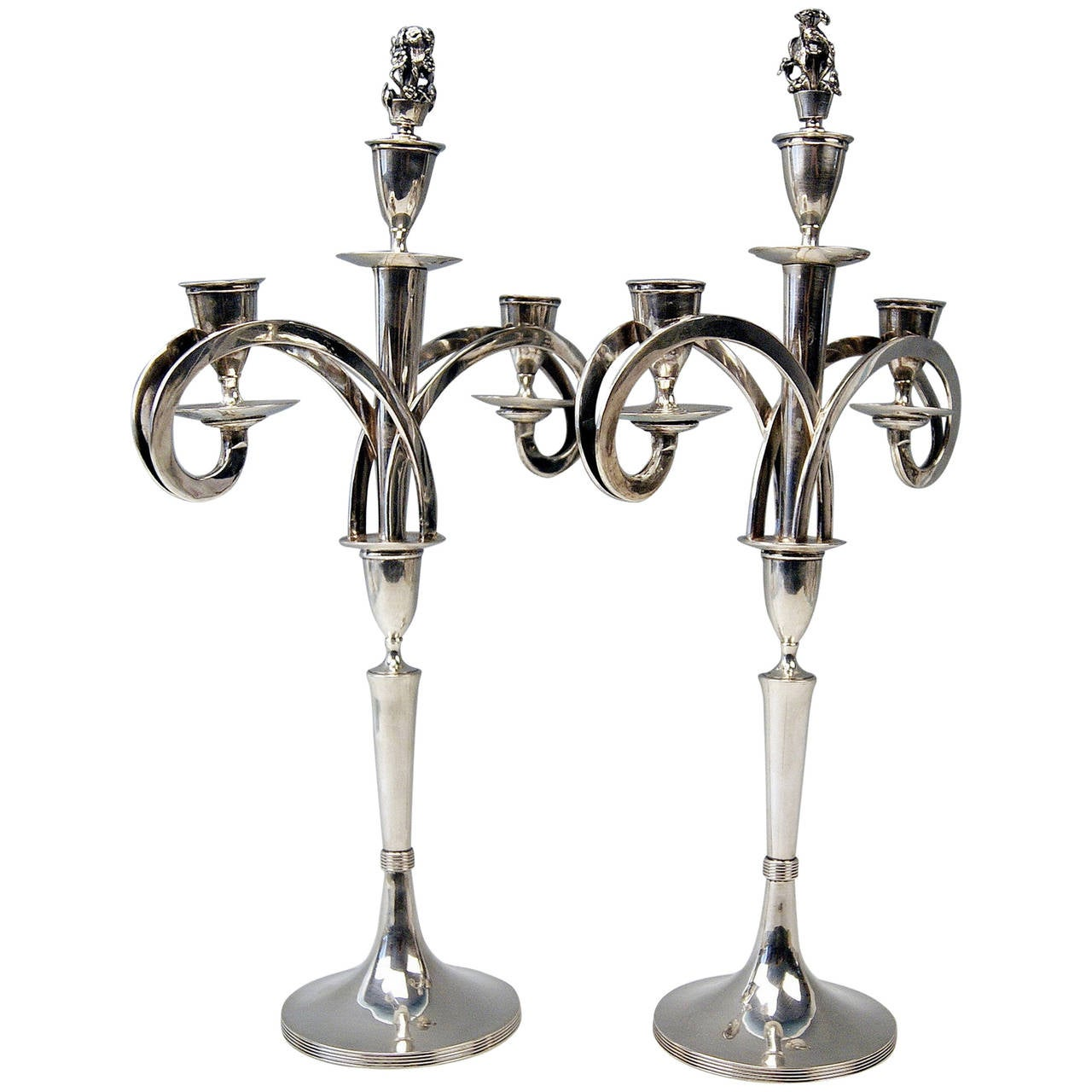 Silver 13 Lot Viennese Two Empire Candlesticks by Anton Koell Dated 1811 For Sale