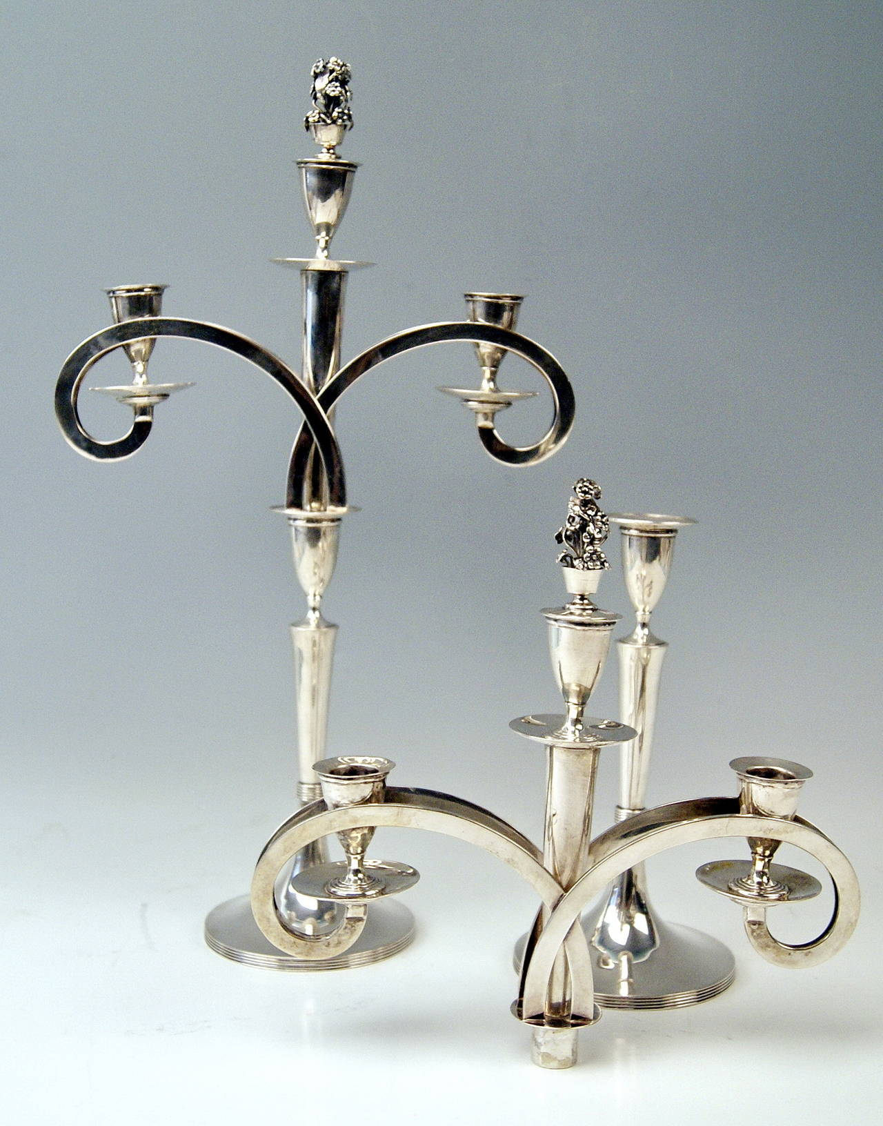 Austrian Silver 13 Lot Viennese Two Empire Candlesticks by Anton Koell Dated 1811 For Sale
