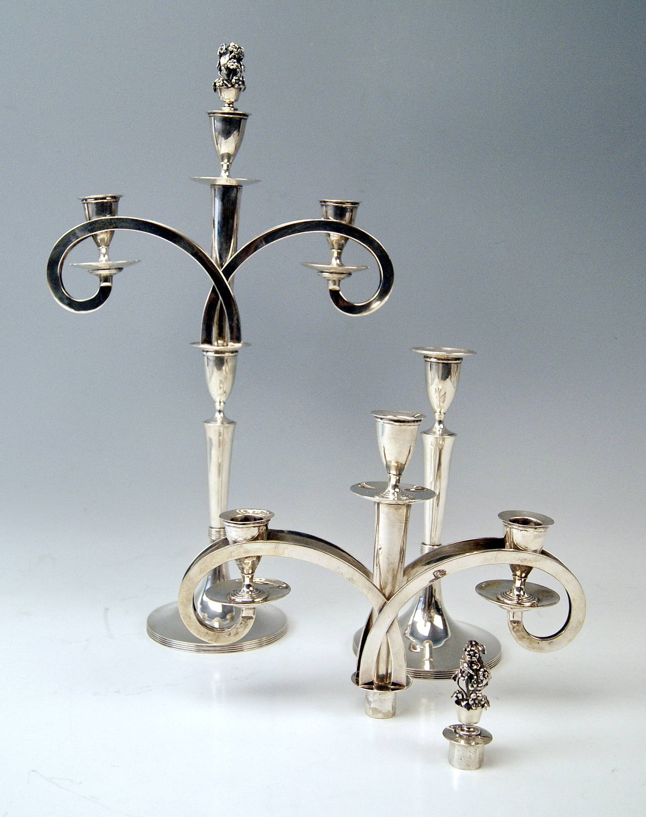 Silver 13 Lot Viennese Two Empire Candlesticks by Anton Koell Dated 1811 In Excellent Condition For Sale In Vienna, AT