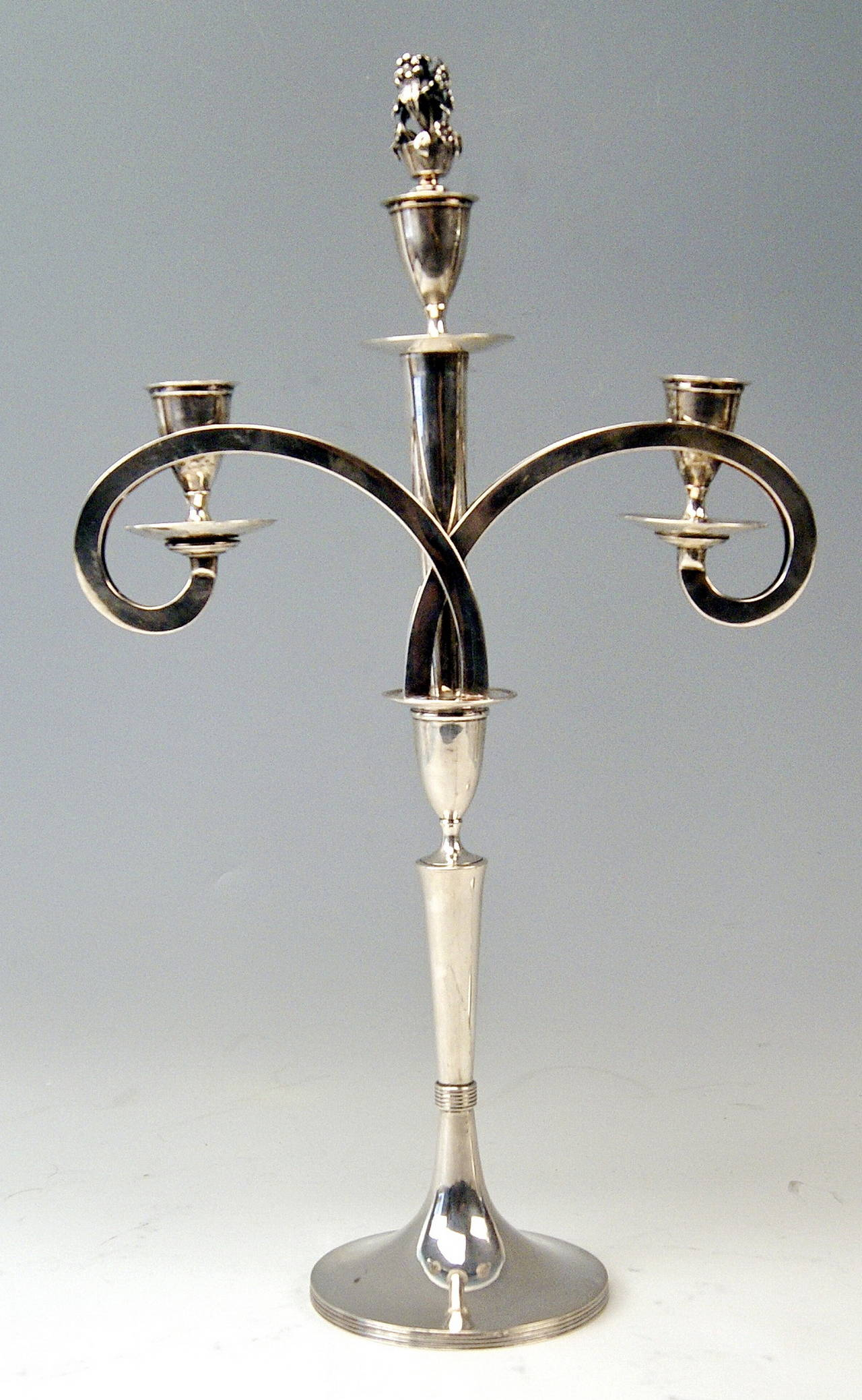 Early 19th Century Silver 13 Lot Viennese Two Empire Candlesticks by Anton Koell Dated 1811 For Sale