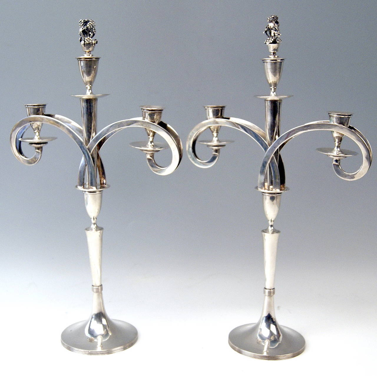 Silver 13 Lot Viennese Two Empire Candlesticks by Anton Koell Dated 1811 For Sale 1