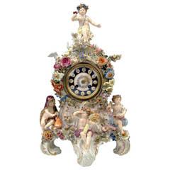 Meissen Tall Mantle Table Clock Four Seasons Kaendler C. 1860