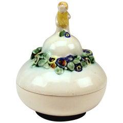 Bertold Löffler Vienna Lidded Round Bowl with Cherub En Miniature, circa 1912
