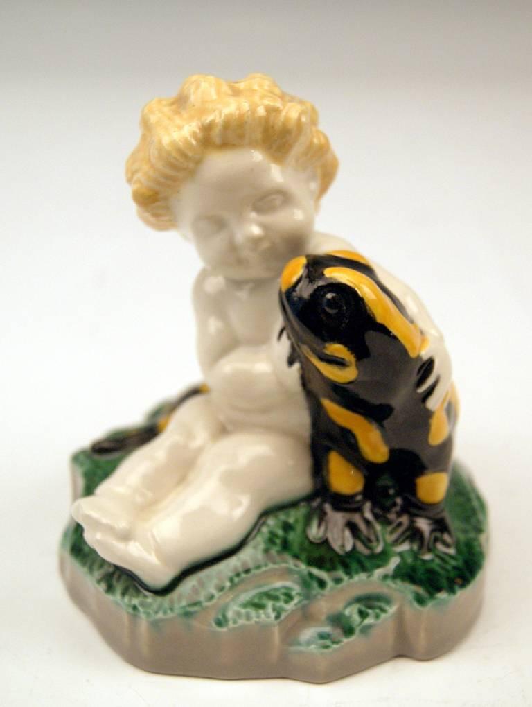 Anton Klieber Vienna Cherub Putto Figurine with Fire Salamander, c.1913-15 6
