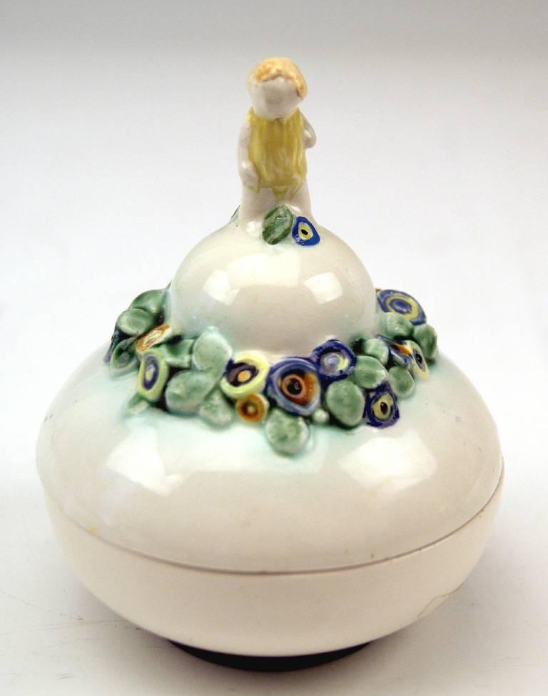 Austrian Bertold Löffler Vienna Lidded Round Bowl with Cherub En Miniature, circa 1912 For Sale
