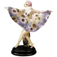 Tall Goldscheider Figurine the Captured Bird by Josef Lorenzl, Model 5230