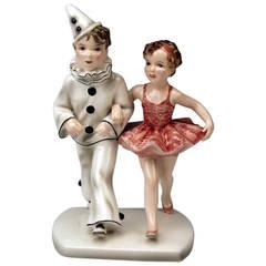Goldscheider Vienna Figurine Group Boy and Girl by Stefan Dakon, circa 1937-1938
