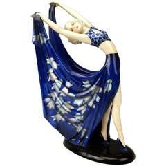 GOLDSCHEIDER VIENNA LADY DANCER BLUE DRESS BY STEFAN DAKON c.1935/36