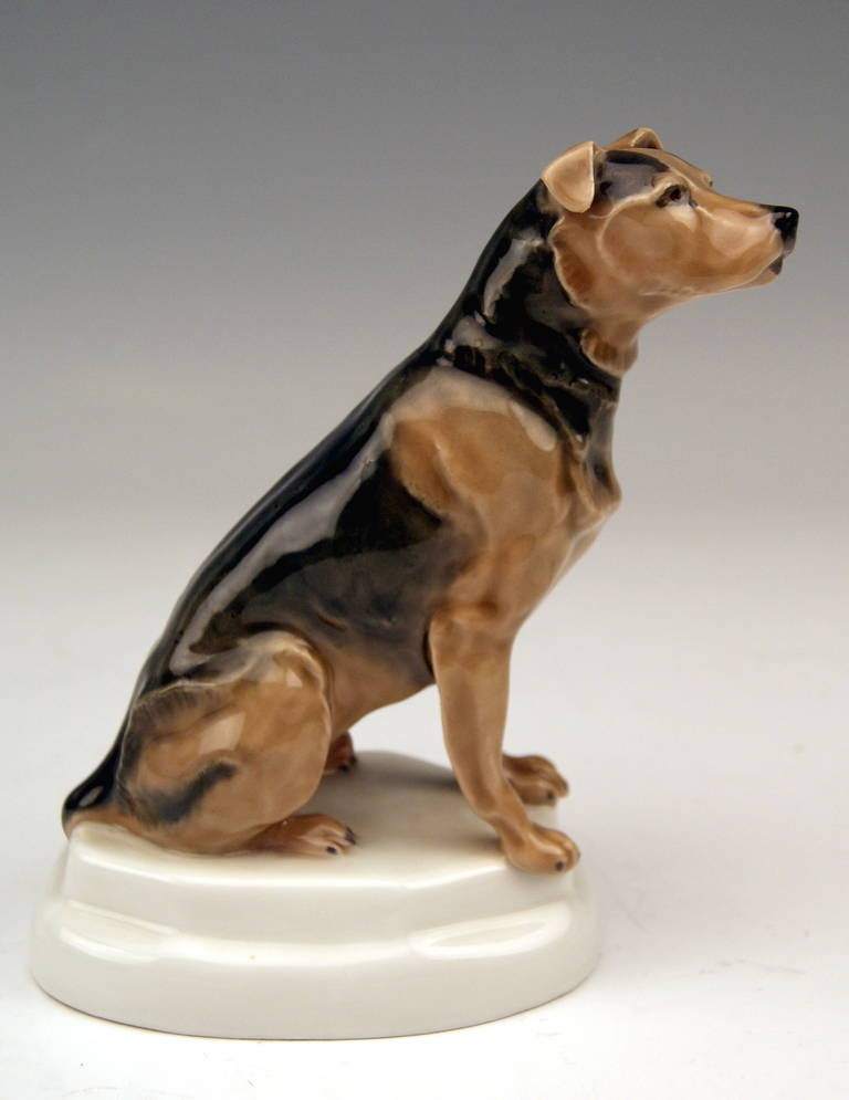 Art Nouveau Meissen Lovely Dog Figurine Terrier by Paul Walther made c. 1935 For Sale