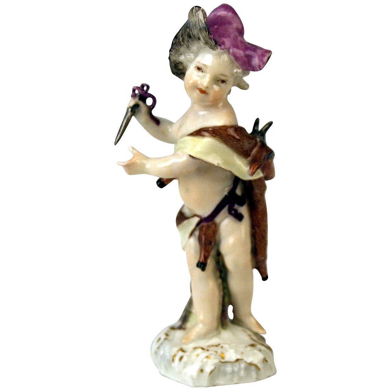 MEISSEN CHERUB WITH DAGGER AND QUARRY ROCOCO CIRCLE OF KAENDLER c. 1760-70