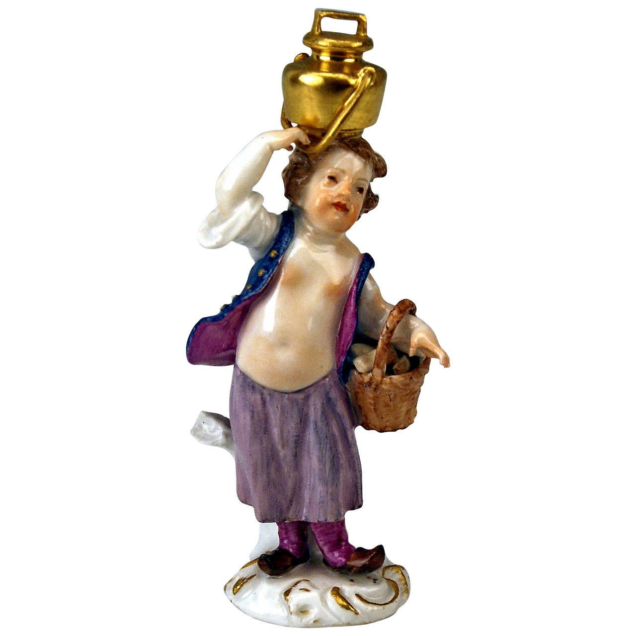 MEISSEN CHERUB WEARING WATER POT ROCOCO FIGURINE CIRCLE OF KAENDLER c. 1760-70