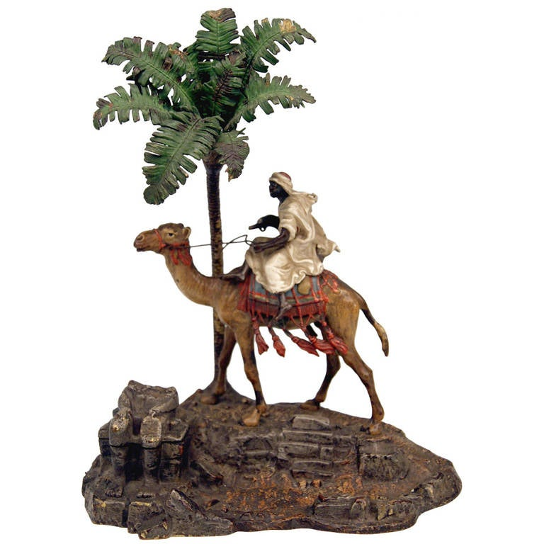 Vienna Bronze Vintage Franz Bergman Arab Warrior Riding on Camel Inkwell, 1890 For Sale