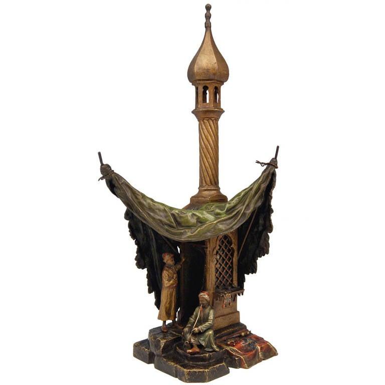 Vienna Bronze Table Lamp Vintage by Franz Bergman Smoking Arab Man, circa 1890 For Sale