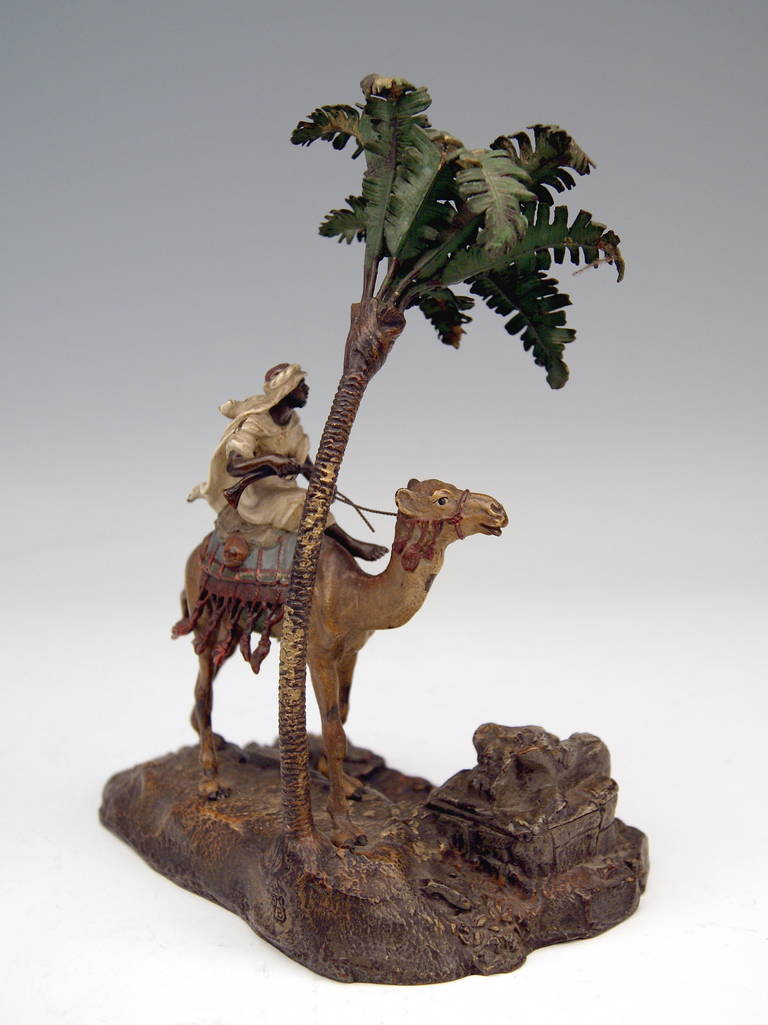 Austrian Vienna Bronze Vintage Franz Bergman Arab Warrior Riding on Camel Inkwell, 1890 For Sale
