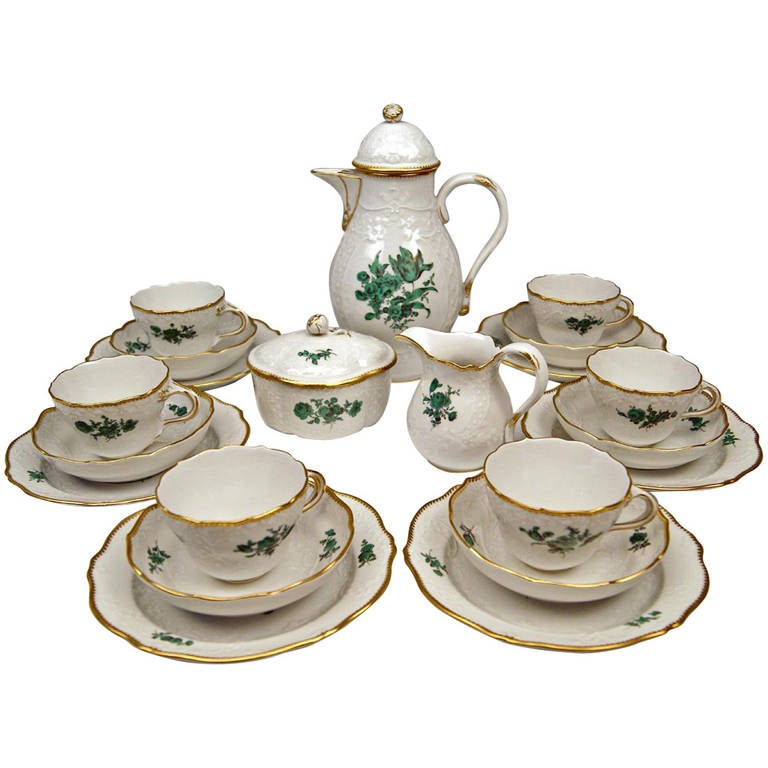 Meissen Coffee Set Six Persons Decor Chrysocolla Flowers Marseille 20th Century